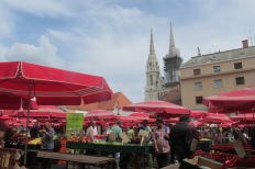 Veggie shopping with a view in Zagreb's daily farmers' market.