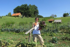 Farmer Jess ready to cook up some veggie goodness.